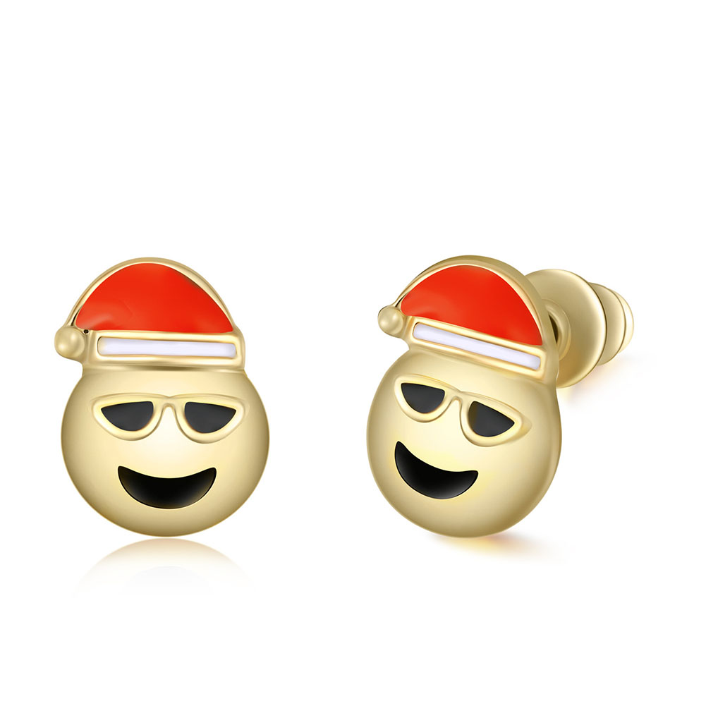 Women Personality Creative Christmas Hat Face Expression Gold Earring Funny Cartoon Ear Stud Jewelry Accessories Gift Hot
