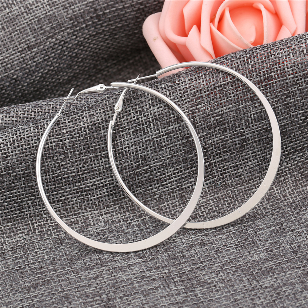 3 Pairs/Set Silver Big Round Circle Hoop Dangle Earrings Womens Fashion Jewelry Gift
