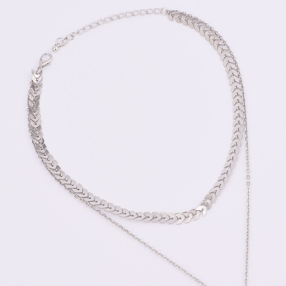 Charming Arrow Sequins Choker Necklace 3 Layer Hand Pendant Silver Chain Women's Fahsion Jewelry Gift