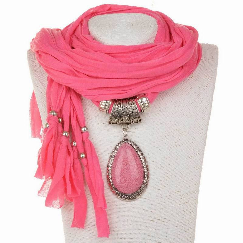 New Women Water Drop Resin Crystal Gem Pendant Fabric Shawl Scarf Wrap Necklace