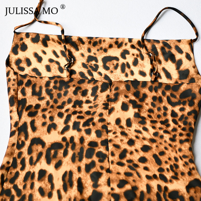JULISSAMO Leopard Print Sexy Summer Dress Women Spaghetti Strap Backless Mini Dress 2018 Short Nightclub Party Dress Vestidos