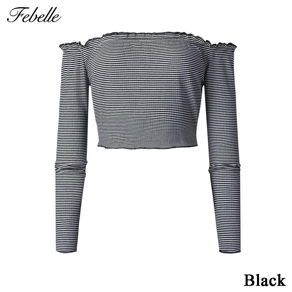 Febelle Fashion Women Casual Stripe Loose Blouse Long Sleeve Off Shoulder Crop Tops T-Shirt