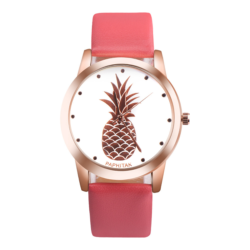 Casual Pineapple Fruit Dial Analog Quartz Watch PU Leather Men/Women Wristwatches Gift