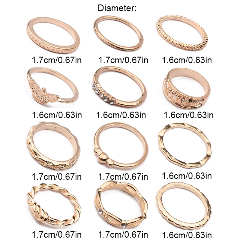 12Pcs/Set Boho Vintage Gold Finger Ring Crystal Rhinestones Midi Knuckle Rings Women Jewelry