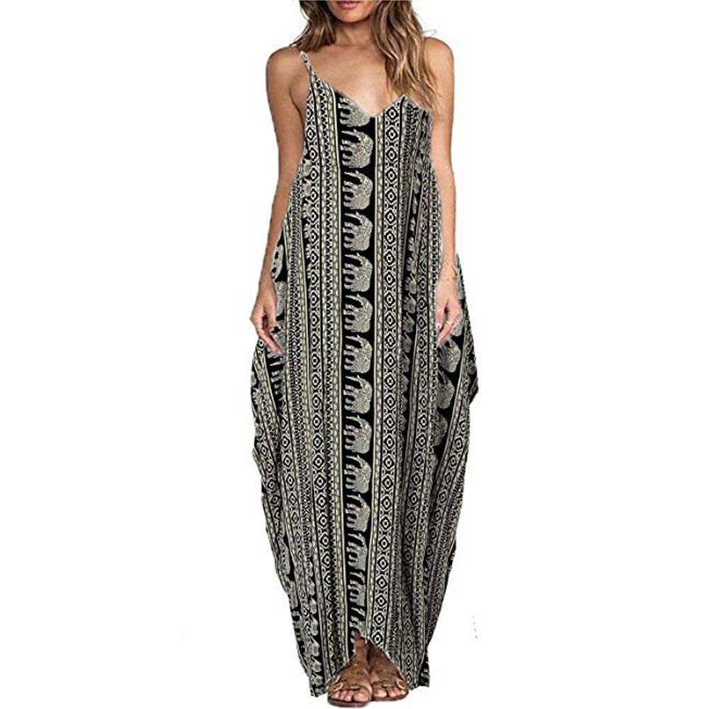 New Women Sleeveless Long Dress Maxi Beach Floral Party Ball Gown Dresses Summer