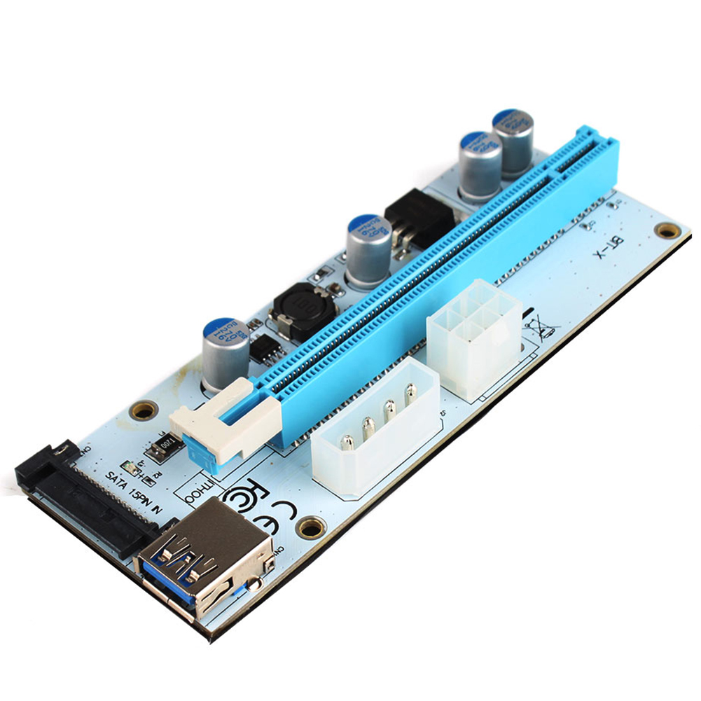 USB 3.0 PCI-E Express 1x To 16x Extender Riser Card 4&6&15PIN SATA Adapter Cable for Bitcoin Miner