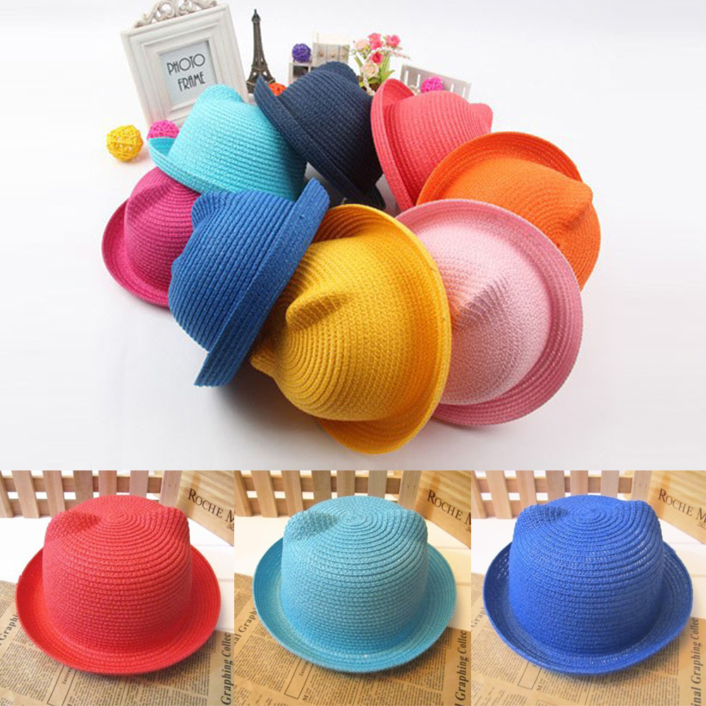 Fashion Straw Hats Summer Baby Ear Decoration Lovely Child Character Girls And Boys Sun Hat Candy Colors