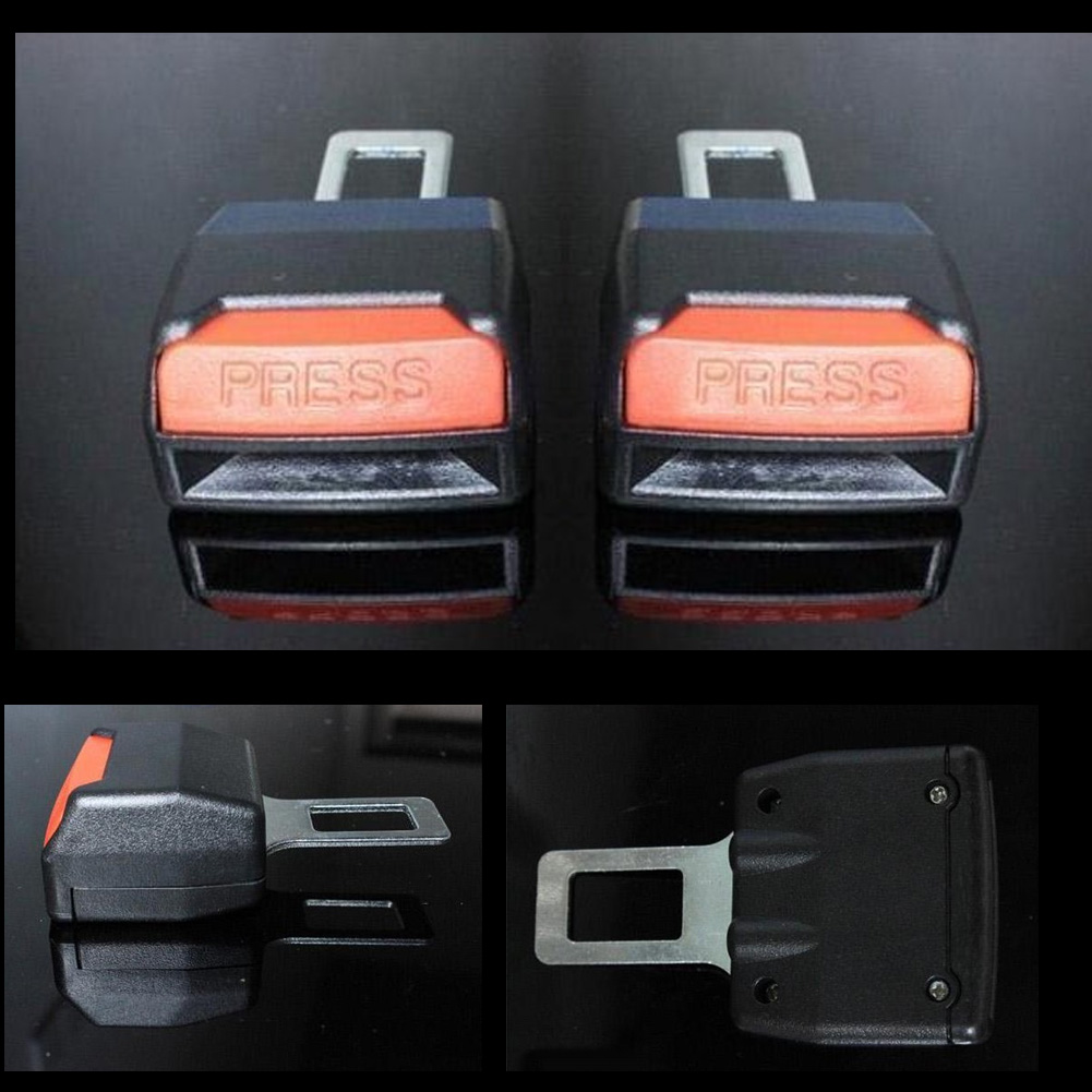 2pcs Car seat Belt Clip Universal Alarm Extension Cancellers Blug Buckle DEDC Black