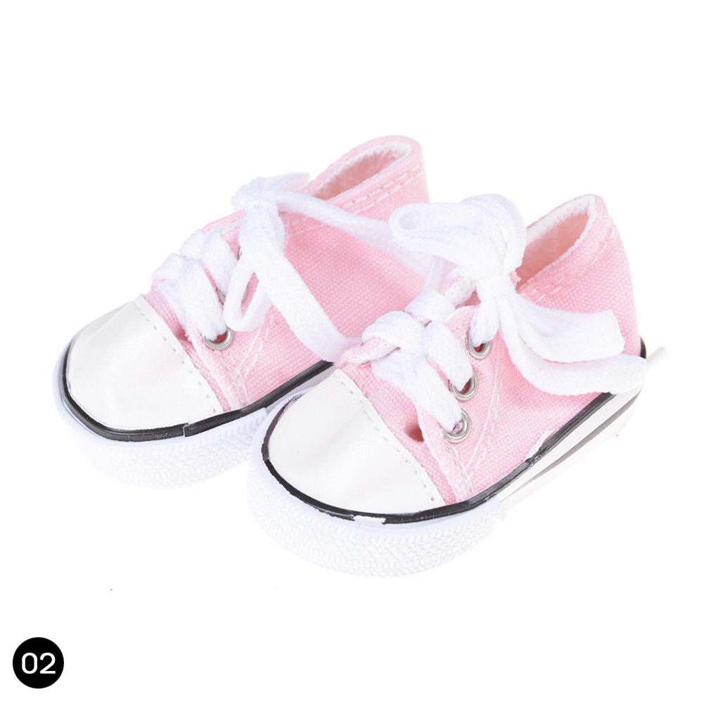 1Pair Canvas Doll Shoes Inch Up Sneakers Lace Kids Fits Toy