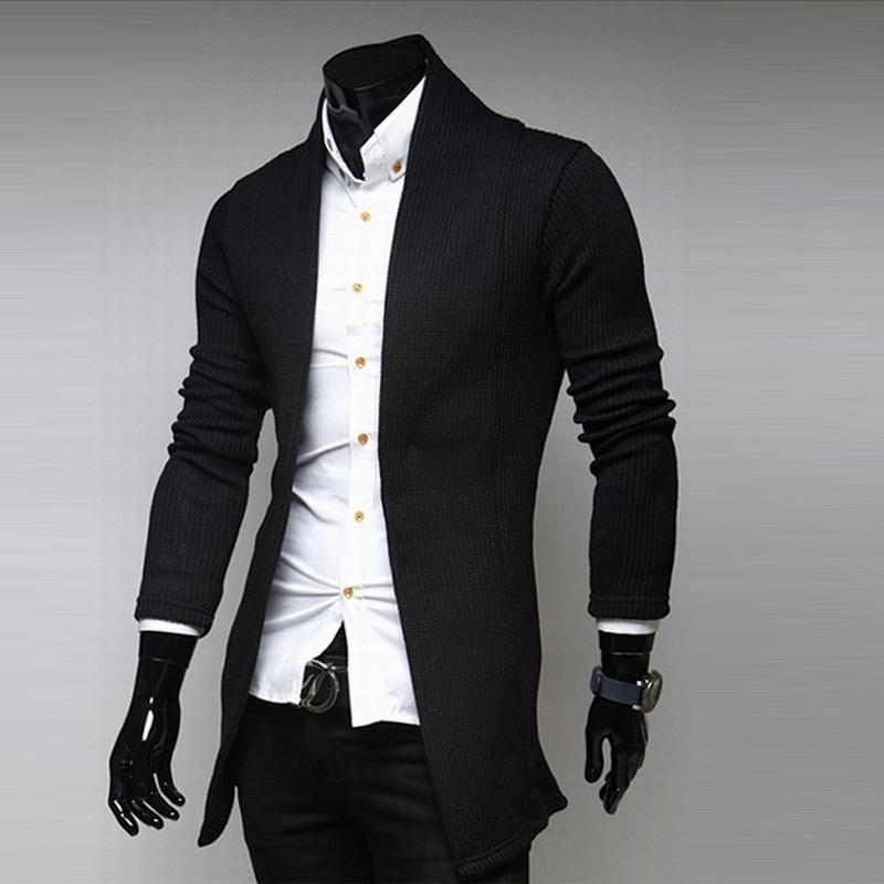 Fashion Men's Autum Casual Slim Fit Long-sleeve Shawl Knit Cardigan Coat Jacket