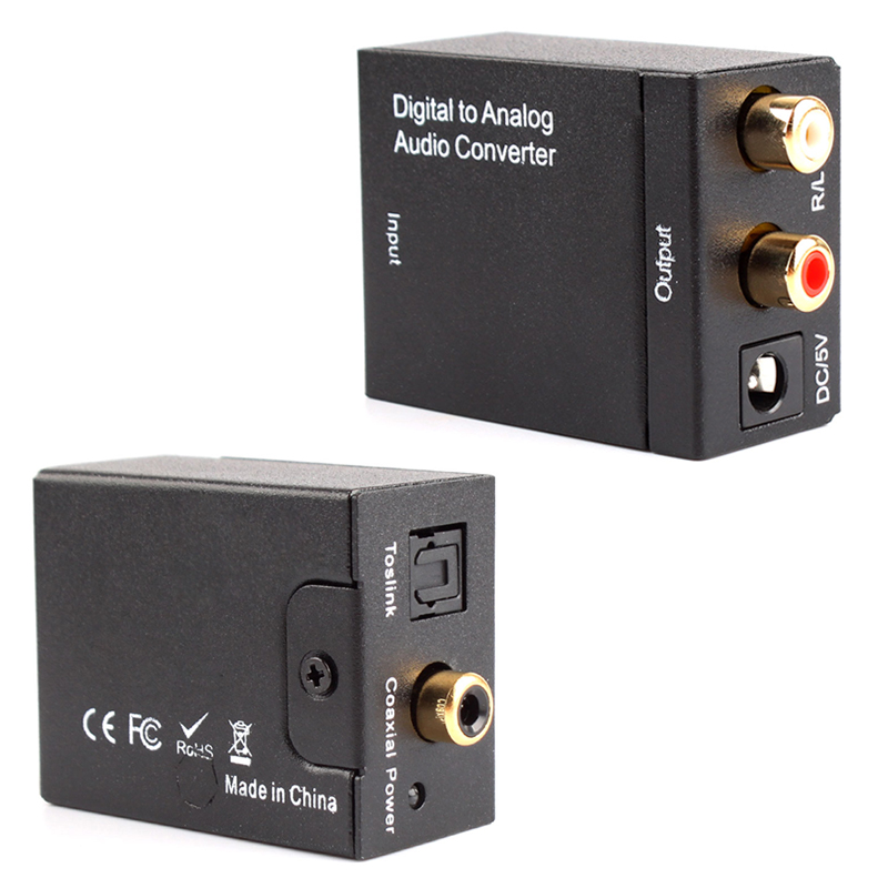 Digital Optical Coaxial Toslink to 3.5mm Analog Audio Converter Adapter RCA L/R