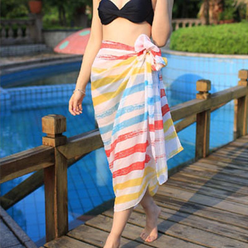 Women Long Chiffon Beach Sunblock Voile Muliticolor Scarf Shawl Wrap Large Multicolor Soft