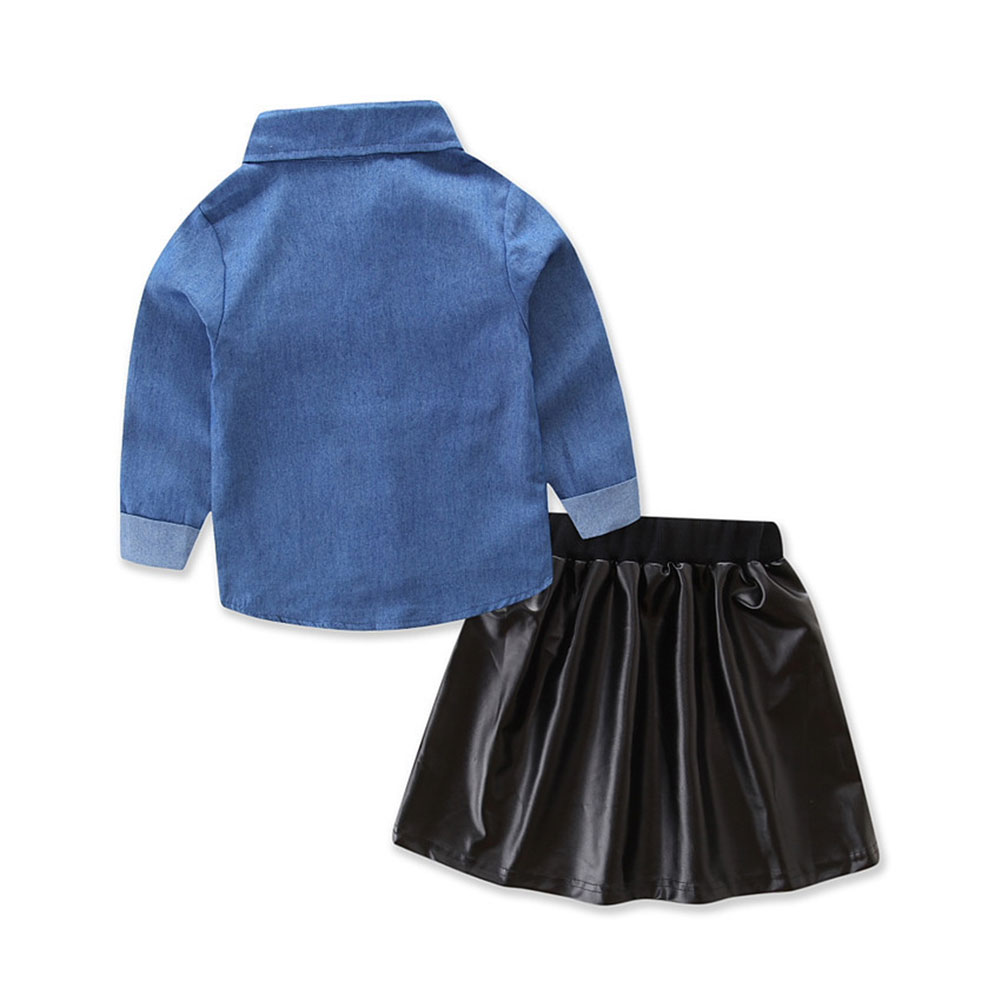 Baby girl bluejean blouse casual shirt +black cool skirt children clothes