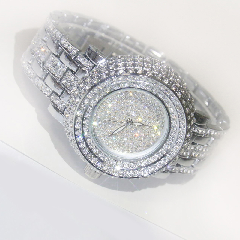 Luxury Fashion Ladies Full Rhinestone Bracelet Stainless Steel Quartz Wrist Watch
