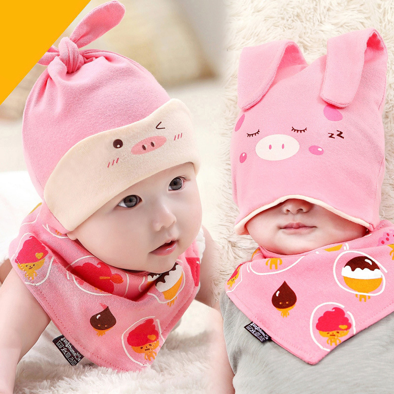 Newborn Baby Infant Boys Girls Sleep Hat Cap+Saliva Towel Triangle Head Scarf Set