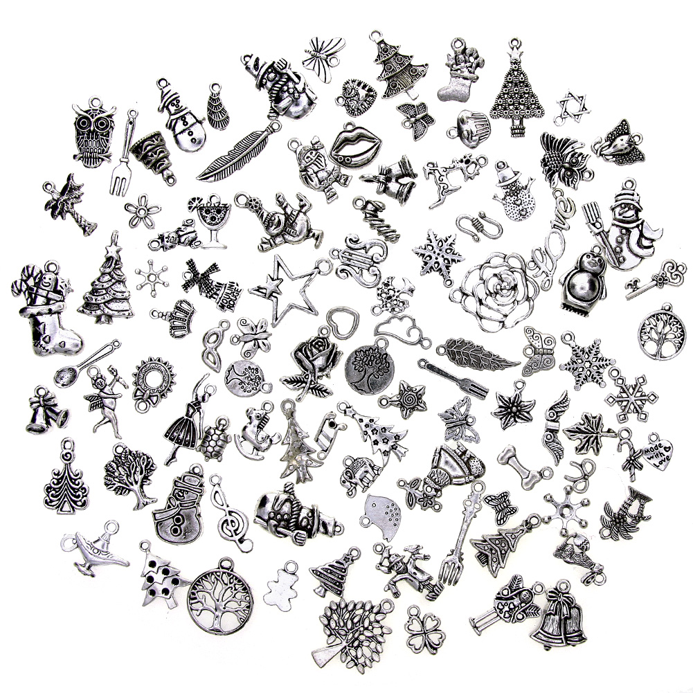 100 Pcs/Set Mix Antique Silver Christmas Tree Santa Snowflake Stocking Cane Bell Charm Pendants DIY Nekclace Bracelet Jewelry