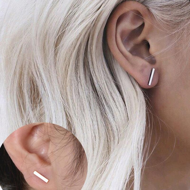 1 Pair Women Punk Fashion Gold Silver Plated Simple T Bar Ear Stud Earrings Jewelry