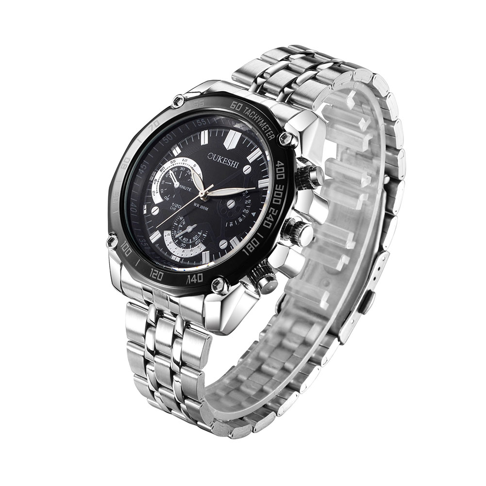 OUKESHI Brand Men's Business Mechanical Watch Trendy Causual Stainless Steel Waterproof Wristwatches