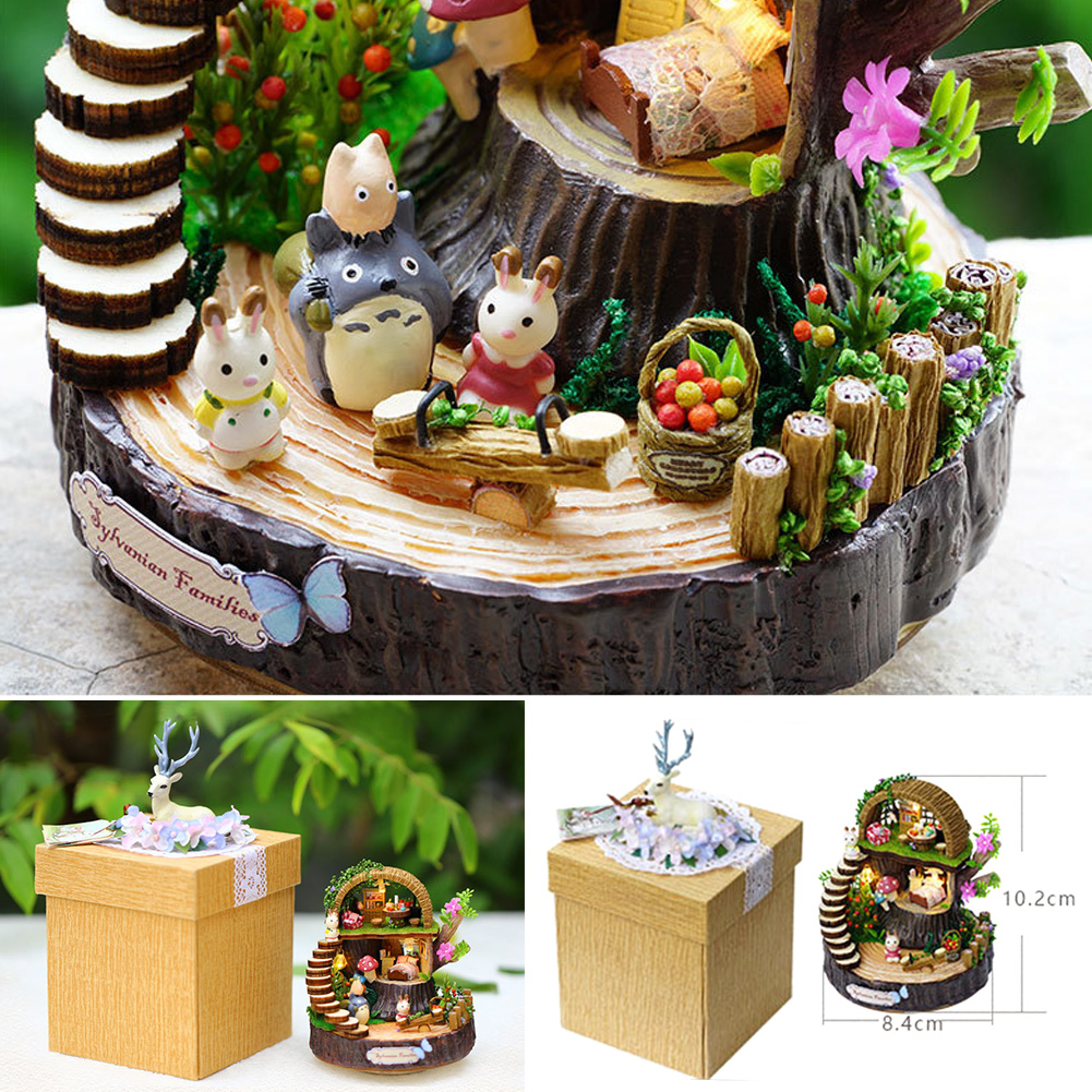 Cute DIY Model Dollhouse Miniature LED Light Box Theatre Birthday Gift