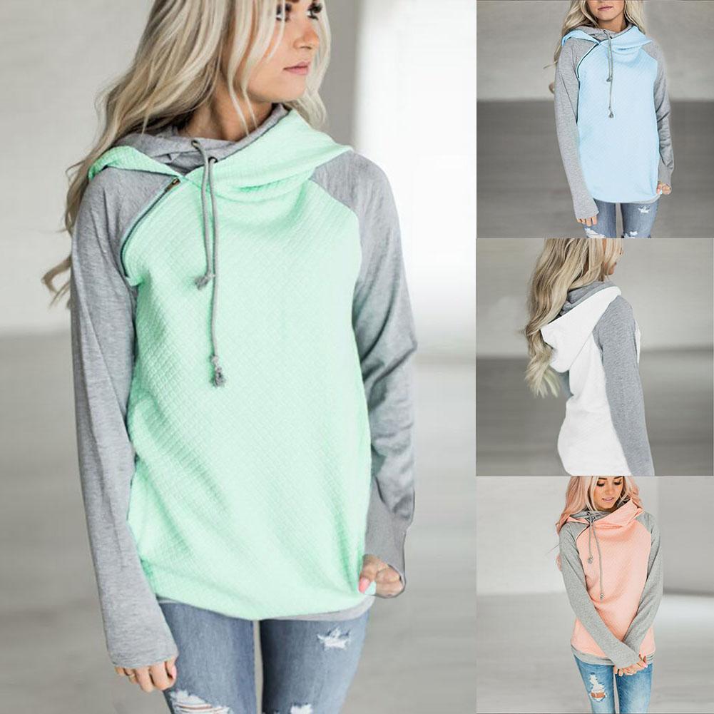 New Fashion Women Long Sleeve Hooded Hoodies Lady Warm Patchwork Loose Hoodies