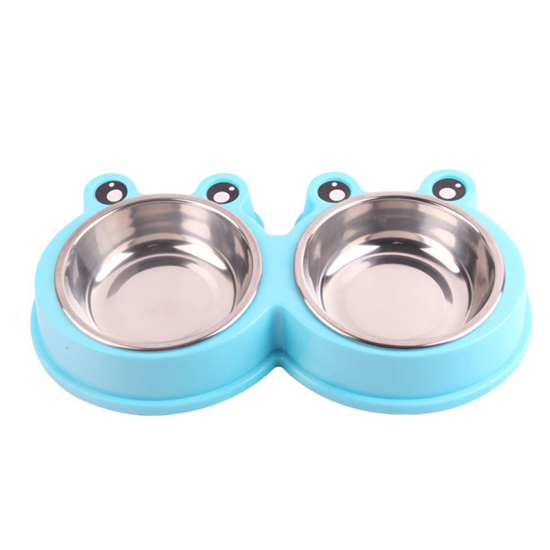 Pet Dog Cat Food Water Double Stainless Steel Bowl Dishing Feeder