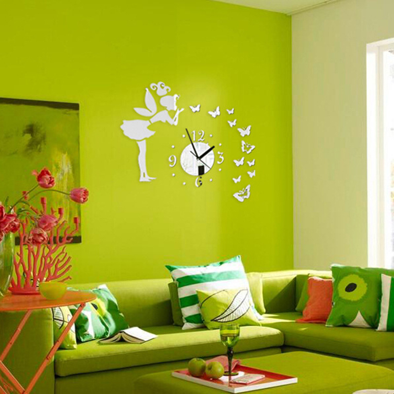 3D Angel Clock Design Frameless Large Wall Clock DIY Home Decor ...