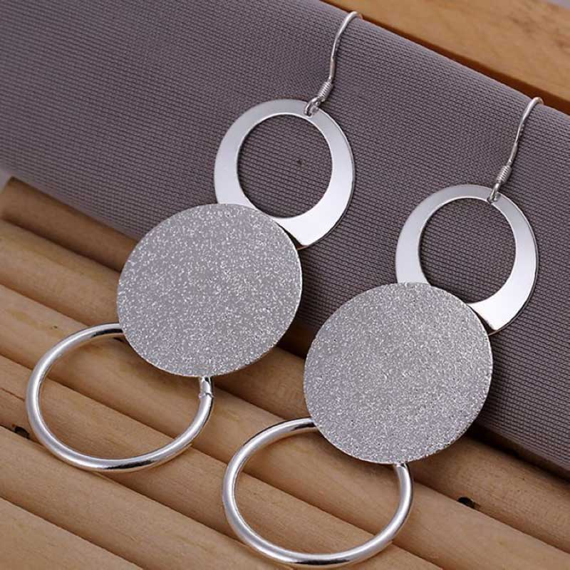 925 Sterling Silver Plated Scrub Double Round Hoop Earring Necklace Jewelry Set