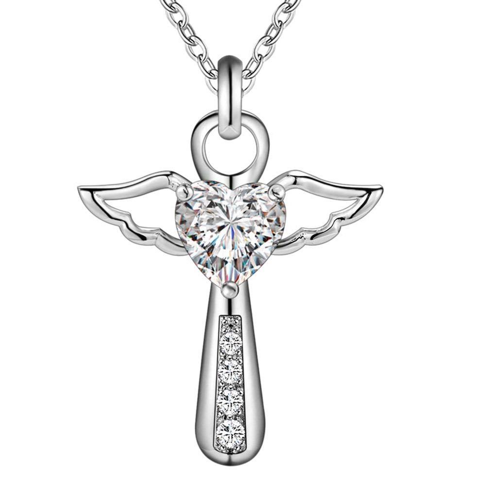2017 Fashion Jesus Silver Cross Angel Wing Love Heart Zircon Crystal Pendant Necklace 18 Inch Christmas Jewelry Gift