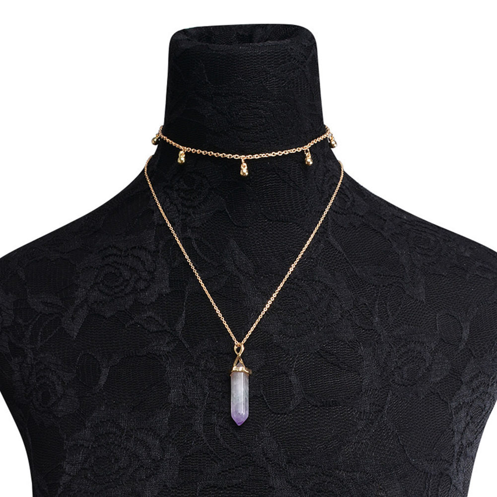 Women Charm Healing Hexagonal Column Crystal Stone Bead Pendants Double Layers Choker Chain Necklace