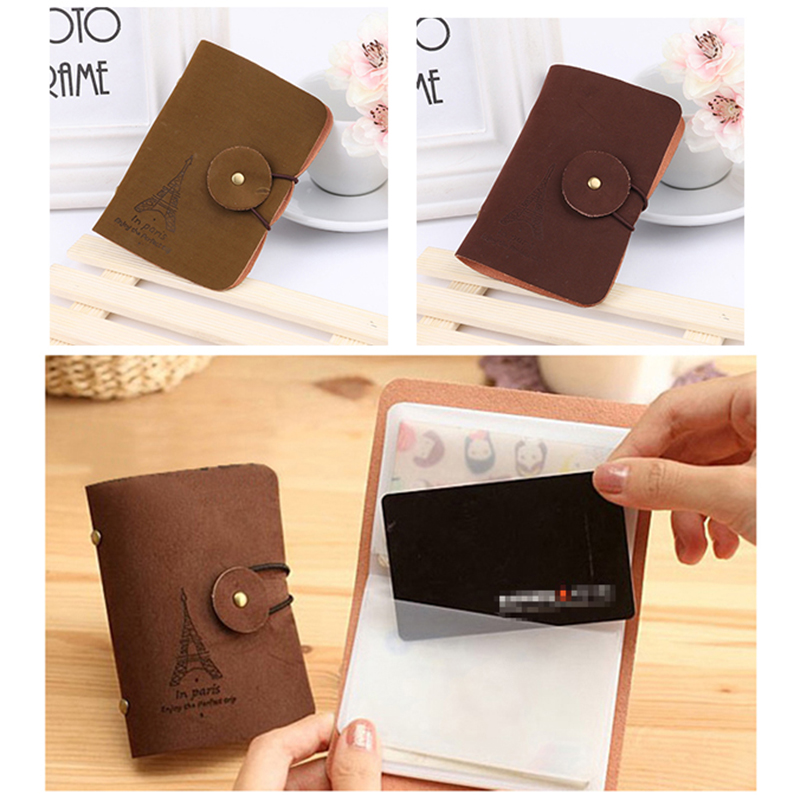 Vintage Style Pouch ID Credit Card Wallet Effle Tower Organizer Case Box Pocket Card Holder
