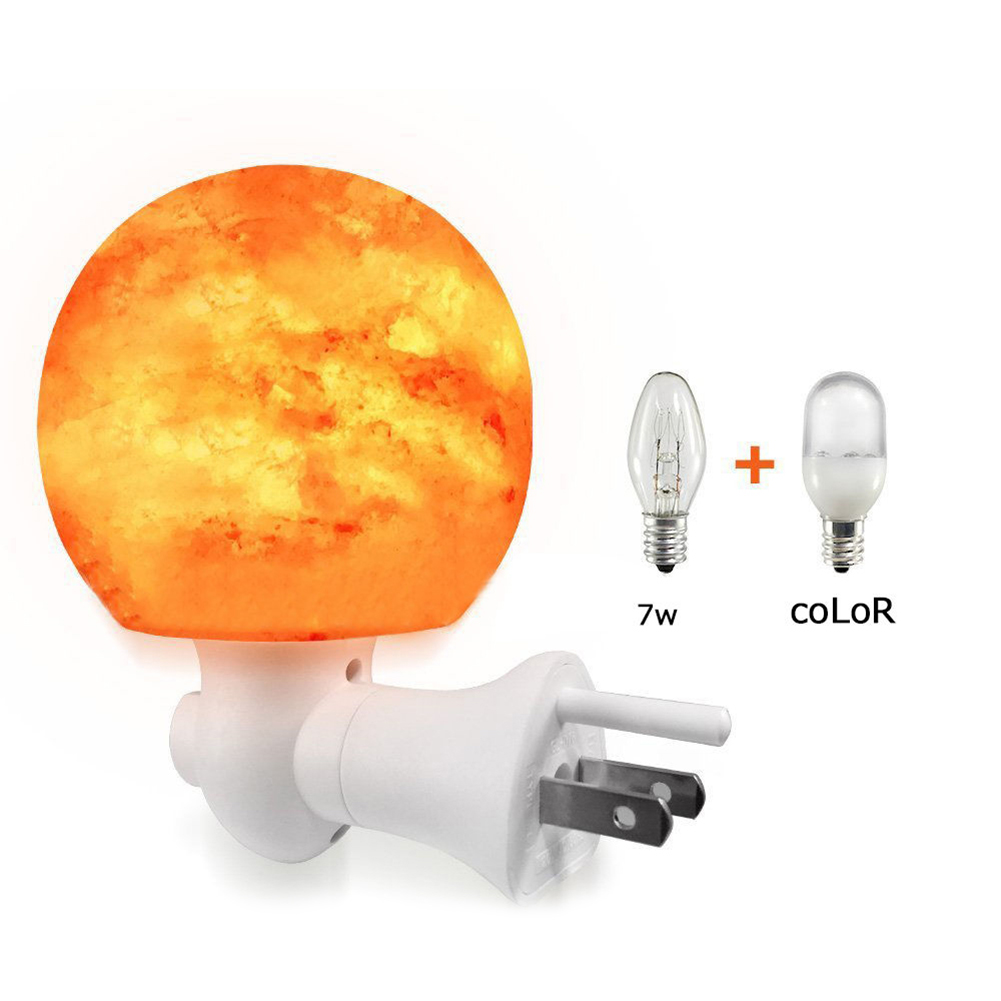 Round Ball Shaped Himalayan Salt Night Light Ionic Rock Crystal Salt 5W Lamp for Home Living