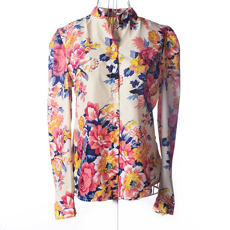 Lady Women's Loose Lapel Neck Tops Long Sleeve Shirt Floral Blouse Comfy