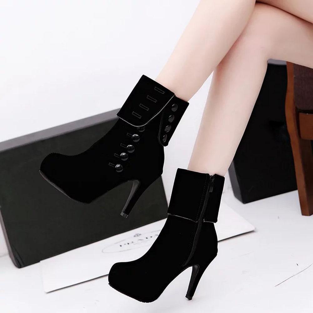 Fashion Women's High Heel Short Shoes Zipper Autumn Winter Boots