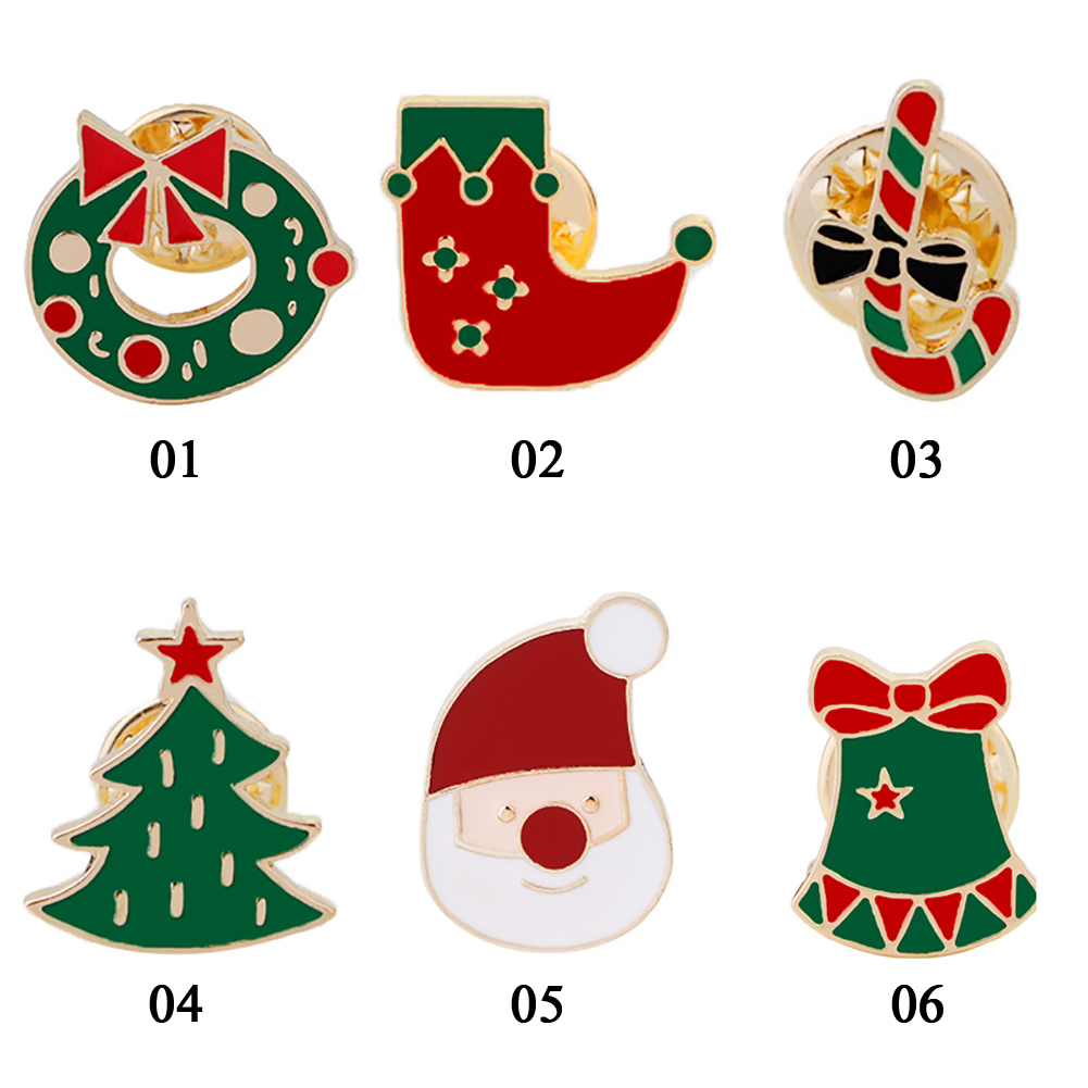 Christmas Santa Tree Bell Socks Clothing Badge Corsage Metal Cartoon Brooch Pins Jewelry Party Decoration