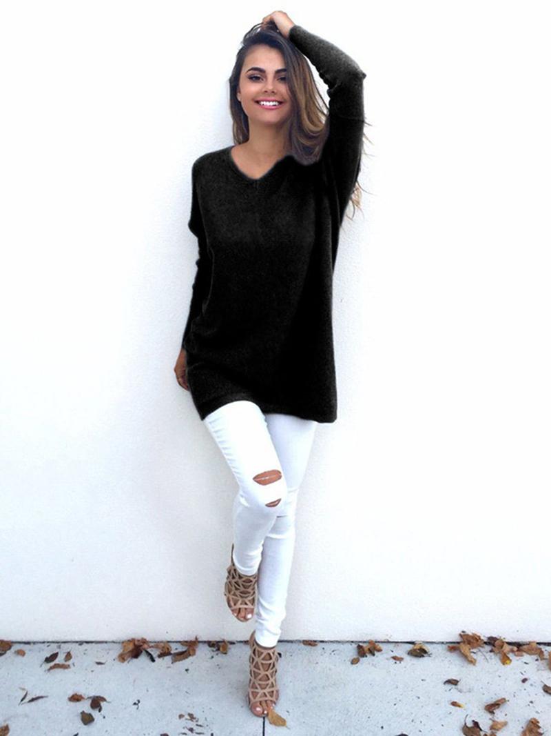 Winter Women Loose Long Sleeve Knitwear Sweater Thin Jumper V-neck Coat Jacket Pullover