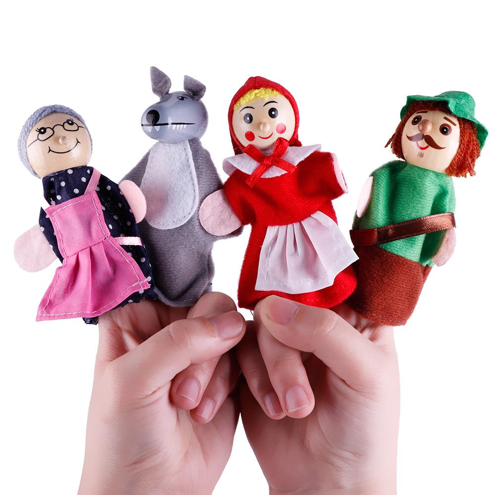 4pcs Plush Toys Baby Kids Finger Animal Educational Family Story Toys