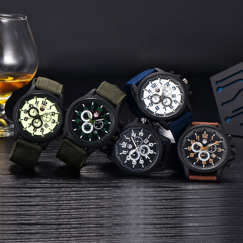 Men's Date Military Waterproof Stainless Steel Quartz Analog Watch Army Sports Wrist Watch