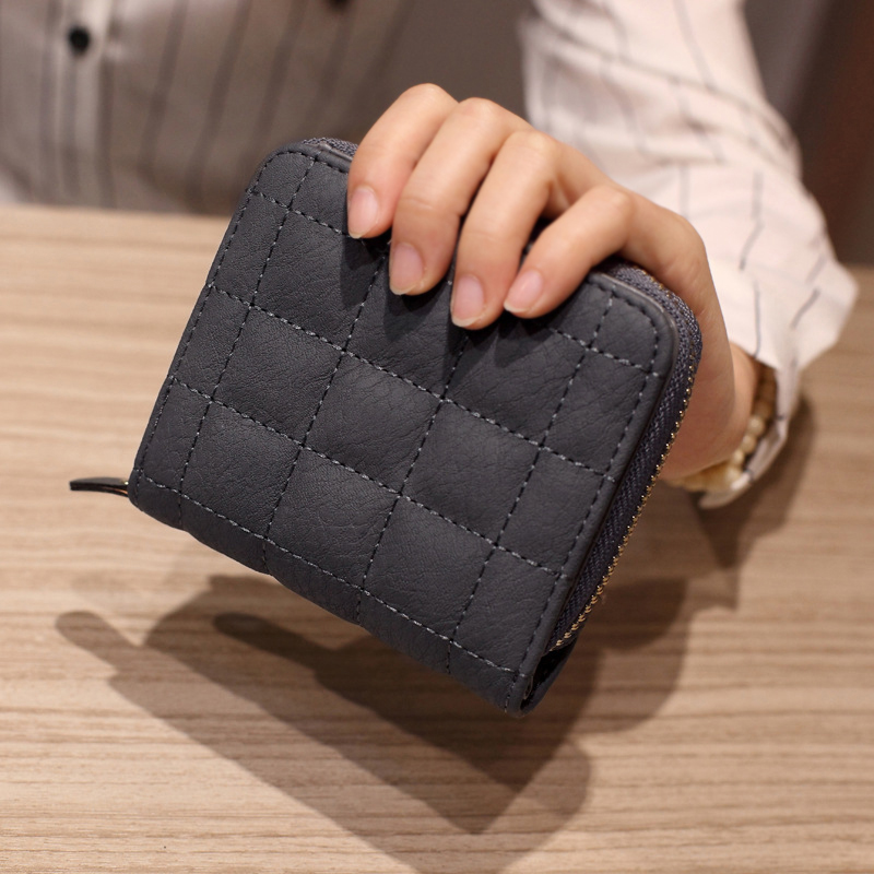 Fashion Squares Coin Purse Women Leather Bifold Zipper Wallet Card Holder Lady Handbag Plaids