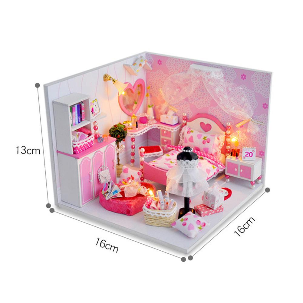 DIY Wooden Dollhouse Furniture Kits LED Light Miniature Christmas Dollhouse Puzzle Toy