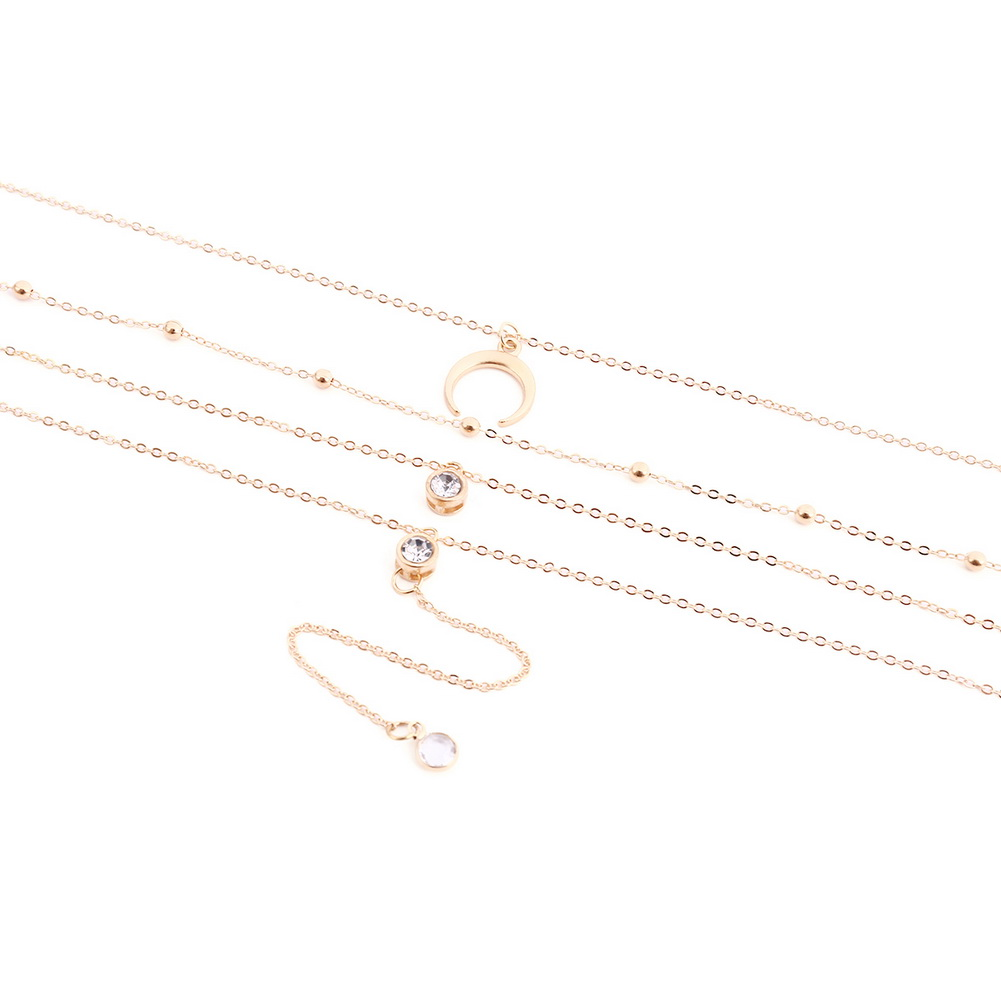Vintage Alloy Crescent Pendant Four Layers Long Chain Crystal Pendant Necklace Set Women Jewelry Gift New