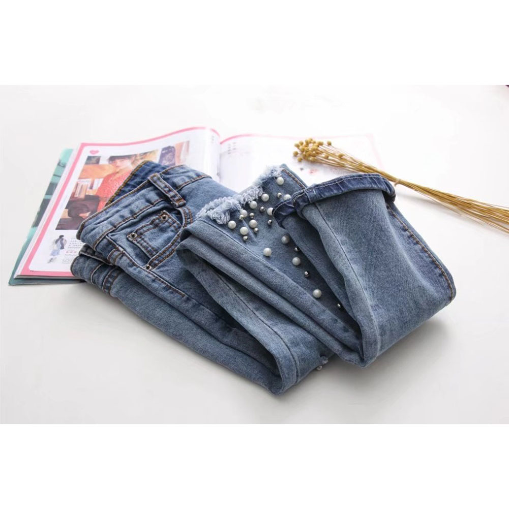Fashion Women's Jeans Summer Long Pants Mid Waist Slim Beading