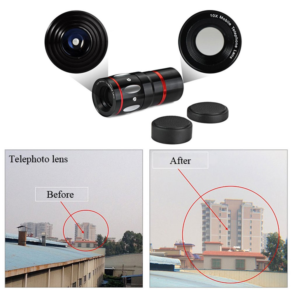 10X Zoom Mini Mobile Telephoto Lens Fish Eye Wide Angle Macro Camera Lens + Rabbit Clip For iPhone Samsung