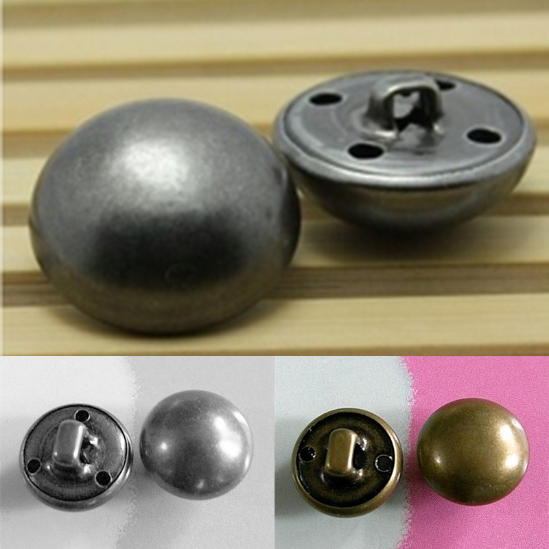 15pcs 1.5cm Brass Metal Plate Half Ball Military Clothes Dome Self Shank Sew On Buttons