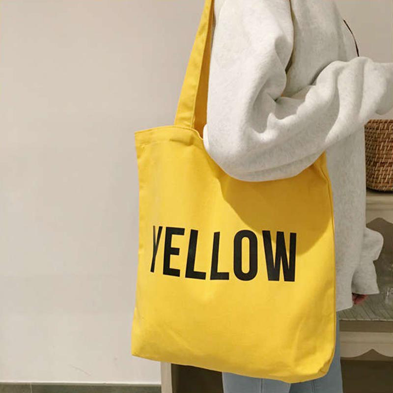 English Word Print Women's Casual Shoulder Canvas Bag Eco Shopping Handbags Tote Bag