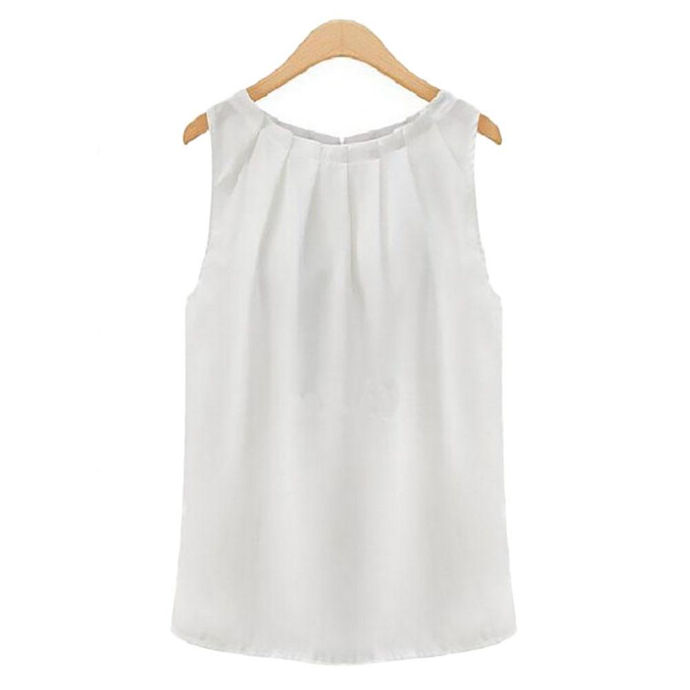 New Women Tropical Sexy Fold Sleeveless Chiffon Blouses Casual Tops Women T- Shirt