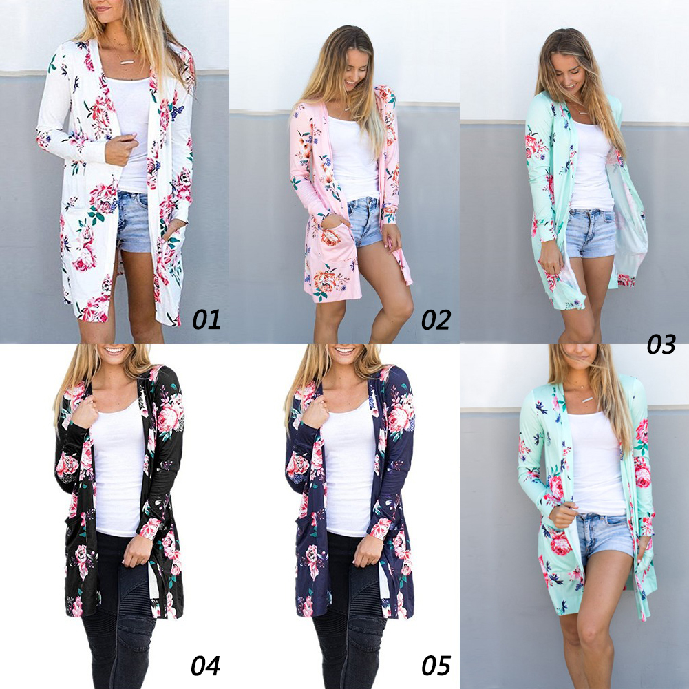 New Women Long Cardigan Loose Long Sleeve Printing Outwear Jacket Coat Women Cardigan