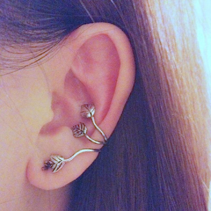 1/2pcs Vintage Alloy Earrings Stud Leaf Design Earring Ear Cuff Wrap Clip Ear Ring