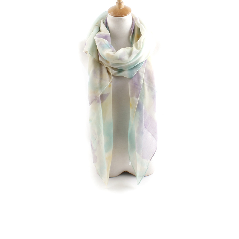 Voile Women Pigment Dyed Colorful Scarf Shawl Wrap Warm Long Bohemia Gift