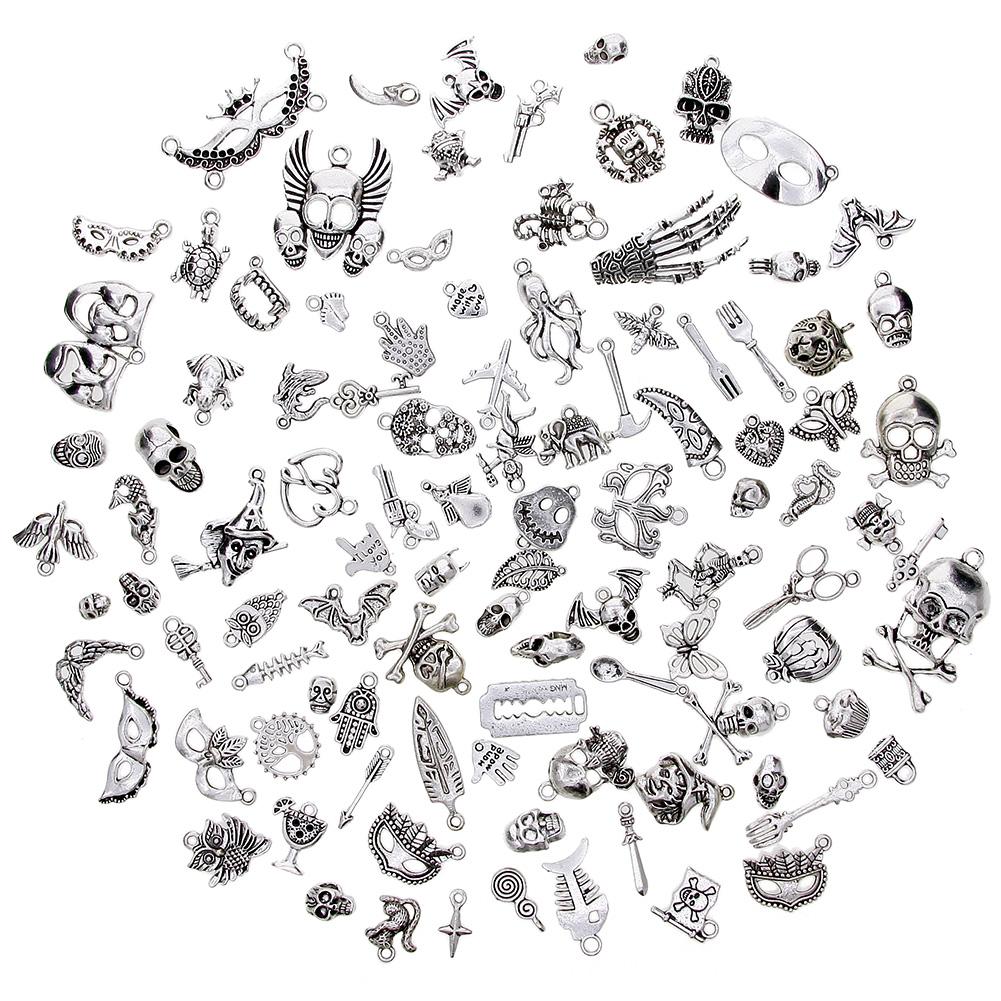 100 Pcs/Set Lots Tibetan Silver Mixed Styles Halloween Skull Charm Pendants DIY Jewelry for Necklace Bracelet