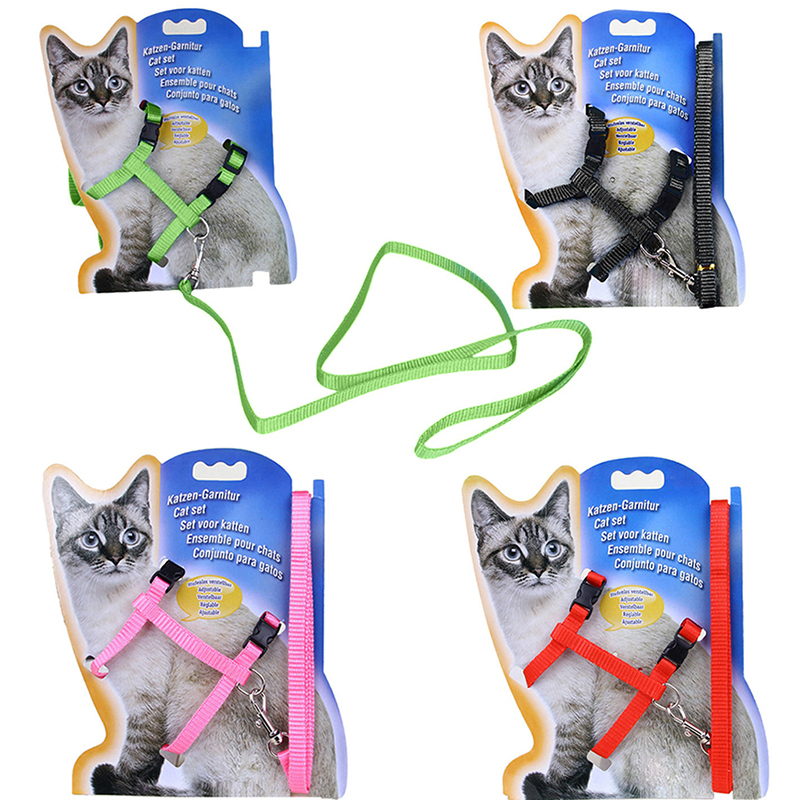 Cat Puppy Safety Traction Rope Adjustable Harness Collar Nylon Leash Lead